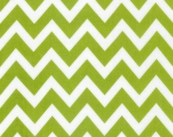 Robert Kaufman Cotton Fabric-Lime Chevron-1/2 YARD (18 X 44 inches)