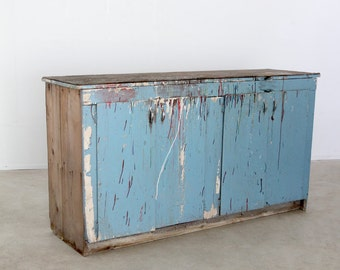 vintage work cabinet, large cupboard, painted blue buffet