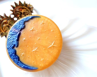 CELESTIAL MOON SOAP, To the Moon and Back, Celestial Moon, Blue and Gold, Scented in Celestial Water, Vegetable Based