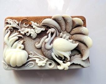 TURKEY SOAP, Tom Turkey Soap, Autumn Decor, Thanksgiving Soap, Fall Thanksgiving Guest Soap, Custom Scented, Vegetable Based, Handmade