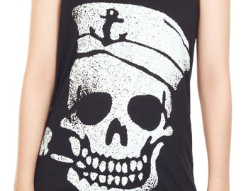 Navy Skull Shirt Skull Tank Top Skeleton Pirate Tank Women Shirt Tunic Top Vest Sleeveless Tank Top Size M,L,XL - IZJBT04