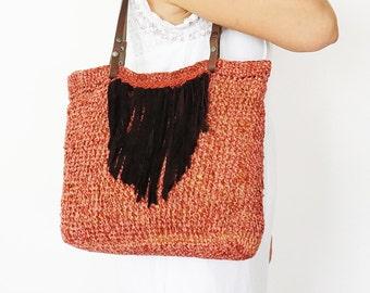 BAG // Coral  Bag Velvet Shoulder Bag Suede  Bag Boho BagTriangle Bag Tribal Bag Summer Bag Hand Bag Handmade Bag Hobo Bag