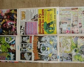 Superhero 16 Comic Book Pages, Incredible Hulk, Upcycle, Scrapbooking or Art Project Supplies