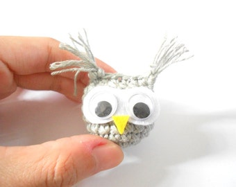 Amigurumi OWL gray crochet Bag charm Phone charm 100% Cotton Yarn