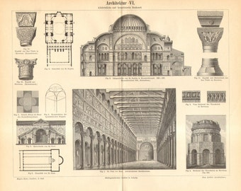 1893 Early Christian and Byzantine Architecture Antique Engraving to Frame