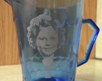 Vintage Hazel Atlas SHIRLEY TEMPLE Cobalt Blue Glass Creamer General Mills Wheaties Premium