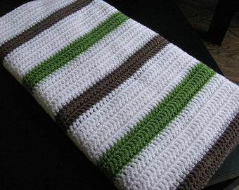 Simple Stripes - Lapghan or Baby Blanket - Apple Green and Brown