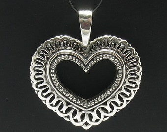 PE000101 Sterling silver pendant  925 Big  Heart Quality