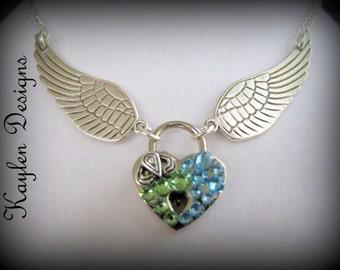Angle Winged heart lock, Choker, Padlock, Flying Heart, Necklace,  Lock and Key