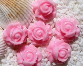 Resin Rose Swirl Cabochon - 16mm - 12 pcs -  Pink