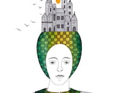 Original Painting Illustration Drawing Ink And Watercolor Portrait Woman With Buildings On Her Head Green Gold Contemporary Narrative