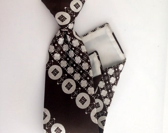 Vintage Tie - 60s Men's Vintage MOCHA Retro-Pattern Clip-On Tie