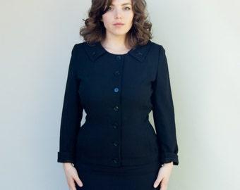 Vintage 1950's Suit - Avendon - Classic Fifties Tailored Black Shirt Suit
