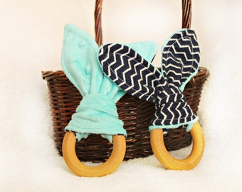 Natural Wooden Teething Ring - Minky Flannel Bunny Teether - Navy Chevron & Teal