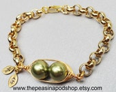 peas in a pod, Two Peas In A Pod, Gold Bracelet,  Personalized Hand stamped Bracelet