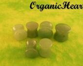 "Green Jade Double Flare Plugs 8g-1"" (Sold as Pair) Handmade Body Jewelry (8g, 6g, 4g, 2g, 0g, 00g, 7/16"", 1/2"", 9/16"", 5/8"", 3/4"", 7/8"", 1"")"