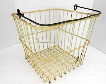Vintage wire basket crusty rusty bent shabby vintage wire basket with handle guy gift man cave masculine decor cottage decor