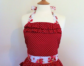 Retro apron with ruffles, Polka Dots and Flowers. 1950s inspired, fully lined.