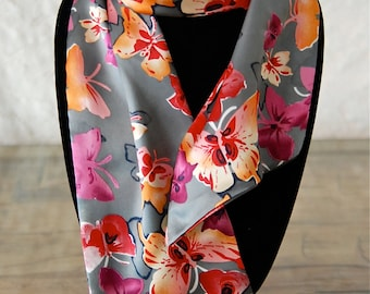 Satiny Gray Floral Scarf-*Free Shipping!