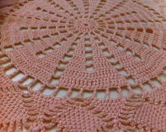 SALE Pink hand crochet doily, applique