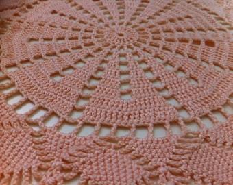 Pink hand crochet doily, applique