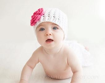 Girls Cross Stitch Hat White with Hot Pink Flower