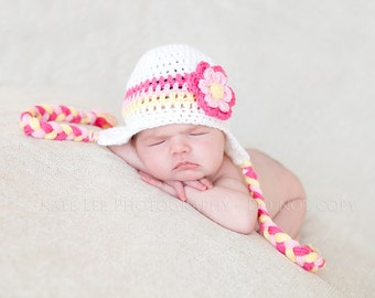 Girls Crochet Earflap Hat with flower Pink, Hot Pink, Yellow and whtie
