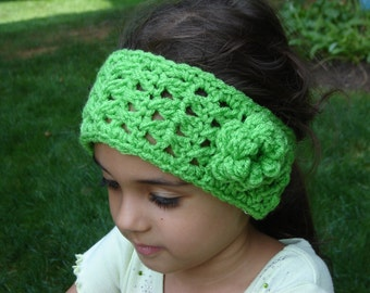 Gras Green Boho Style Crochet Headwrap / Headband / Earwarmer READY TO SHIP New Item