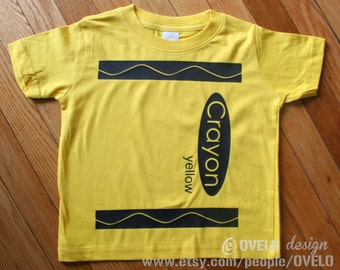 Crayon T Shirt Pick Your Color Pictured in Yellow Youth sizes