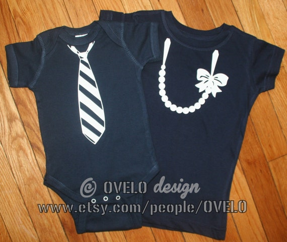 White Pearl Necklace and Striped Tie for Twins or Siblings Pictured in Navy T shirt and Bodysuit