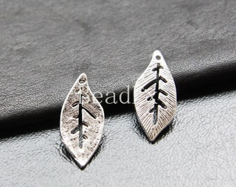 20pcs / Leaf / Oxidized Silver Tone / Base Metal / Charm (YA16932//K14)