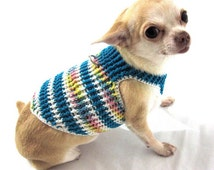 Male Dog Clothes Dog Harness Vest Striped Blue Personalized Pet Collar for Chihuahua Puppy Cotton Hand Crochet DH18 Myknitt - Free Shipping