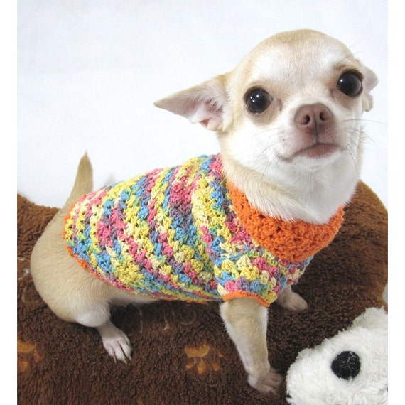 Knitting Pattern For Teacup Dog : Items similar to Orange Chihuahua Clothes, Crocheted Dog ...
