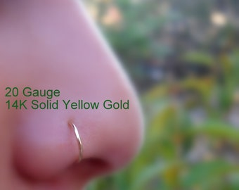 Nose Ring - Nose Piercing - Tragus Piercing - Helix - Nose Hoop - Earring - 14K Solid Yellow Gold Hoop  20-16 gauge 7mm inner diameter