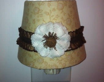 Neutral Tan Nightlight with white fabric flower accent