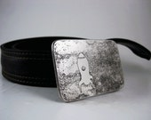 Spaceship Belt Buckle - Etched Stainless Steel - Handmade