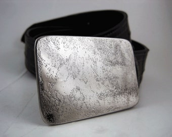Simple Etch Belt Buckle - Etched Stainless Steel - Handmade