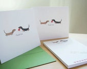 Dachshund Thank You Cards and Personalized Notepad Set - With Hearts (8 cards, 1 notepad)