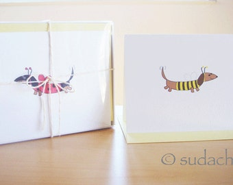 Assorted Dachshund Note Cards With Stationery Box - Pick Your Set (Set of 10)
