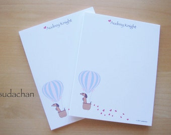 Personalized Notepads - Dachshund in Hot Air Balloon - Red/Brown Dachshund (set of 2)