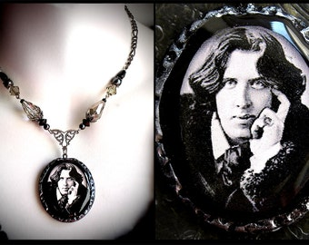Oscar Wilde portrait necklace, polymer clay pendant, black grey glass beads, filigree, romantic, Victorian, vintage, poet, decadence