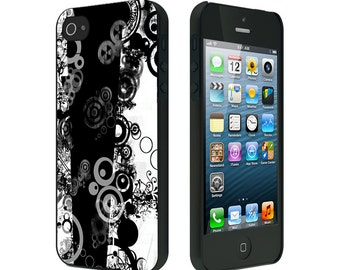 iPhone 4/4S case, iPhone 5 Case, iPhone 6, Black or White, Abstract Black White Circles Stars
