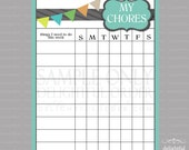 Pennant Banner Boy Chore Chart - PDF File - Instant Digital Download