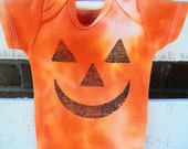 Grunge Jack O'Lantern Face Onesie-Halloween-Hand Dyed-Orange-Pumpkin-0-3Mo- 3-6Mo-Infant- Baby-Made By Maggie P