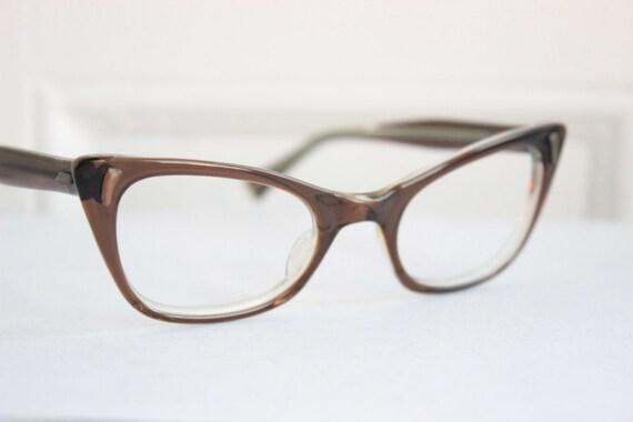 Cat Eye Women s Eyeglass Frames : 50s Cat Eye Glasses 1960s Womens Eyeglasses Brown by ...
