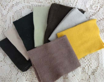 Eight Pieces of Wool for Rug Hooking, Penny Rugs