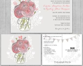 Mason Jar Wedding Invitations | Pink Roses Wedding Invitation | Boho Wedding Stationery | Pink and Gray Banner Wedding Invites | Budget