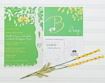 Love Birds Wedding Invitations, Green and Yellow Suite with RSVP postcards, Budget Invites