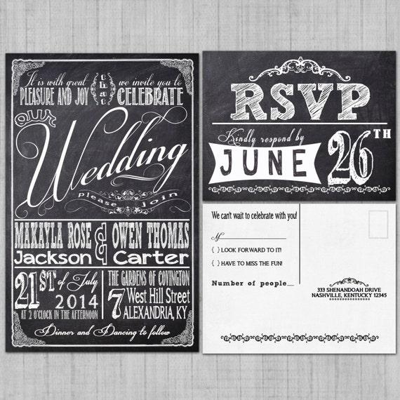 Wedding Invitations Printable Chalkboard Retro Typography