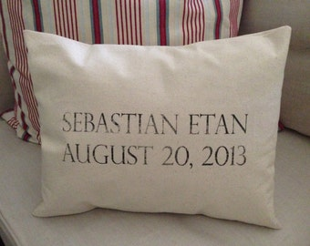 Custom Name Date PIllow Natural Unbleached Cotton